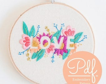 LOVE - Embroidery pattern - PDF Digital Download