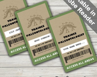 Dinosaur Party VIP Pass (Dinosaur VIP badge). Editable PDFs. Instant Download.