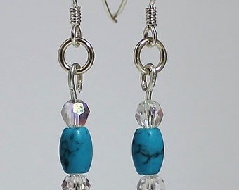 Sterling Silver Turquoise and Swarovski Crystal Earrings, Sterling Silver Earrings, Swarovski Earrings, Silver Earrings