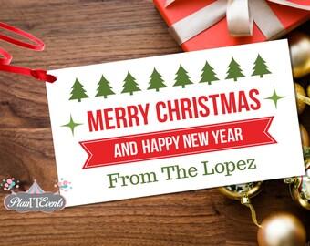 Christmas Trees Gift Tag - Custom Holiday Gift Tag - Holiday Gift Tags - Christmas Tags - Holiday Tag - Rectangular Christmas Hang Tag - Tag