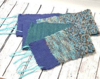 Woven scarf, scarf long, blue scarf, scarf with fringe, blue and beige, textured scarf, women's fashion, hand woven