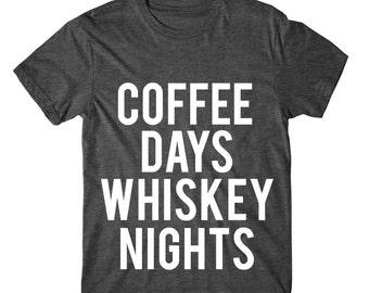 SOFT! Coffee Days Whiskey Nights, Womens Tshirt, Ladies Tee, Womens Graphic Tee