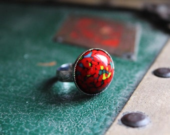 Vintage Japanese Millefiori Adjustable Ring // Vintage Ring // Glass Millefiori Ring