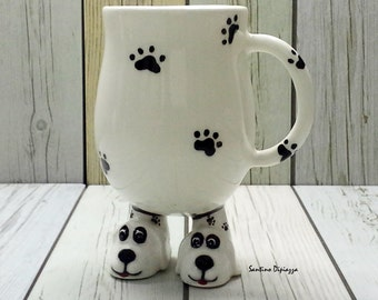 Funny Dog Mug, White Dog Lover Gift, Cute Puppy Coffee Cup, Quirky Pet