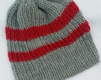 Grey and Red Striped Hat
