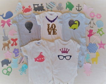10+ Random Iron-on Appliques, Gender Neutral, Girl, Boy, Baby Shower DIY Onesie Bodysuit Activity, Animal, Tie, Nautical, etc.
