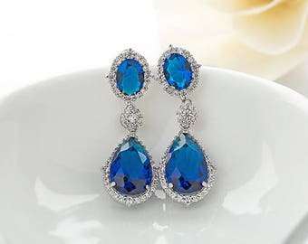 Sapphire bridal earrings Swarovski Blue Earrings Blue crystal earring Blue Teardrop Earrings Navy Blue Earrings Dark blue wedding earring