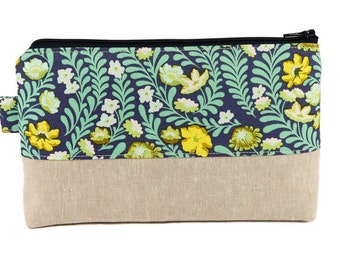 Large cosmetic bag, Floral Makeup bag, Cosmetic case, Make up bag, Womens Gift, Cosmetic pouch, Makeup pouch, Zipper pouch, Spring flowers