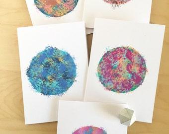 ART GREETING CARD - handmade blank card round circle - metallic abstract painting