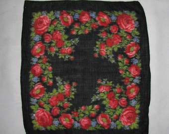 Wool SCARF floral pattern Polish FOLK scarf vintage retro flower highlander wrap