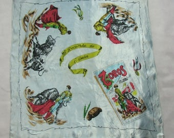 Ultra shiny SCARF souvenir from Spain Corrida pattern painted scarf wrap