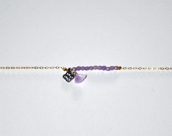 Bracelet very fine gold plated and micro purple amethysts