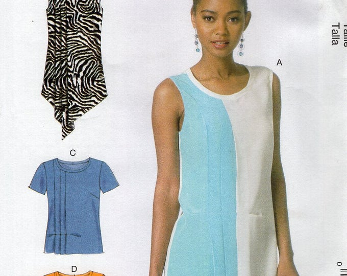 McCall's 7196 Sewing Pattern Free Us Ship Pleat Tucks Blouse Loose Fitting Size 6/14  Bust 30 31 32 34 36 (Last size left) 2012