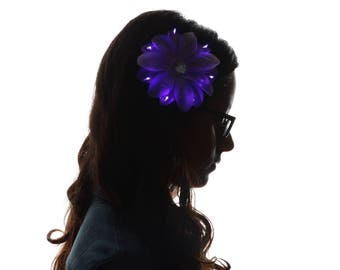Glowing Pink Rhinestone Light Up Hair Flower Clip