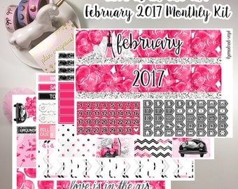 "Erin Condren Monthly Sticker Kit - ""Love Is In The Air"" - February Monthly Kit - February 2017 Monthly Kit - Valentine's Day Kit"
