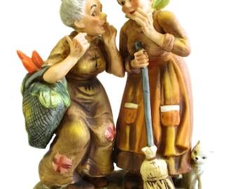 Lefton Bisque Porcelain Old Women Gossiping Whispering Original Label Vintage