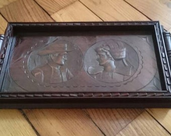 Hand Carved Vintage Oak Tray, Traditional Breton Wooden Serving Tray, Glass Top Tray, Brittany Folk Art
