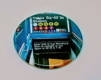 """Magnet or Pinback 2.25"""" NYC Subway Station Times Square 42nd Street Button or Magnet Your Pick"""