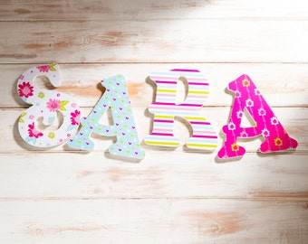 "Personalised Wooden Letters, Summer Floral Theme, Pink Hearts, Girls Bedroom Decor, Teenagers Room, Pink and Turquoise Decor 8"" letters"