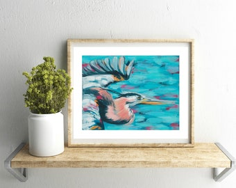 Great Blue Heron 8x10 Art Print, Painting, Bird art, by Sarah Jaynes