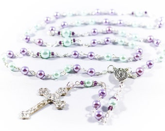 Lavender & Light Blue Catholic Rosary - Customizable