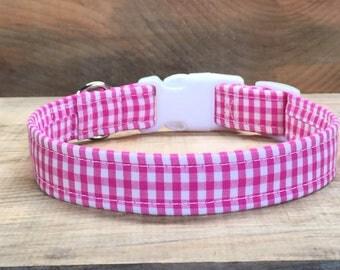 Pink and White Gingham Dog Collar, Pink dog collar