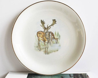 Antique Decorative Plate. Sarreguemines. Deer Plate. French Country. French Vintage. Wall Plate. Assiette décorative. Ceramic Plate. 50s