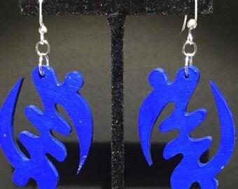 Blue Gye Nyame Earrings