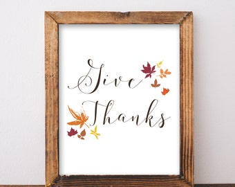Digital Download Give Thanks Printable 5x7 and 8x10