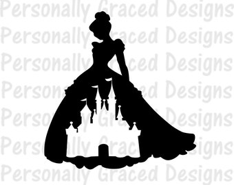 SVG DXF EPS Cut file Princess as Cinderella in Castle silhouette