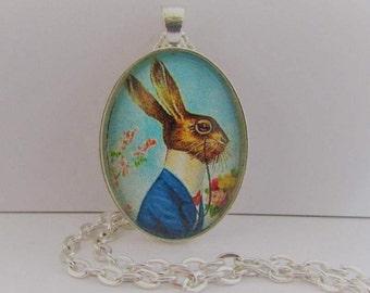 Edwardian Easter Bunny Photo Pendant, Gentleman Rabbit Pendant, Dapper Bunny Necklace, Easter Pendant, Easter Necklace, Easter Jewelry