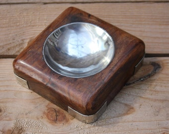 Vintage ultra stylish walnut ashtray or trinket tray 1920's 1930's 1940's