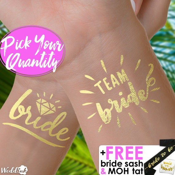 Team bride tattoos bachelorette party tattoo metallic for Bachelorette party tattoos