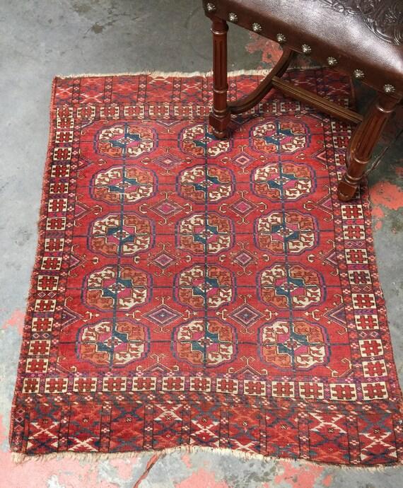 Antique Turkoman Rug 3x3.5 Tekke Bokhara Red Rug C.1900