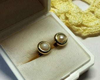 Old earrings gold 333 Pearl Classic shabby vintage OR111