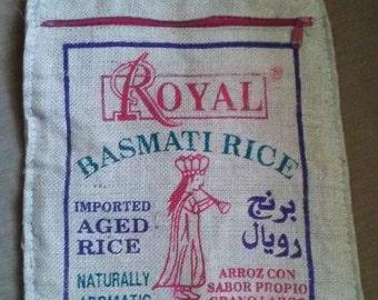 Burlap Rice bag vintage Royal Basmati Himalaya red zippered boho tote rustic natural fiber shopping bag farmer's market grocery casual purse