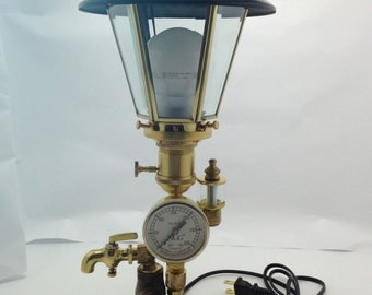SORRY-SOLD! -Please select from our other items. Desk Lamp Vintage Victorian Steampunk Style L16-08 Gold Black Repurposed USA