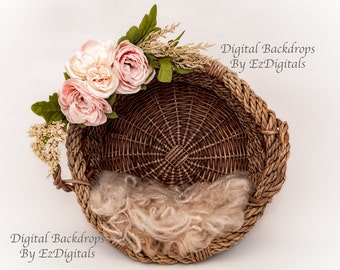 Spring basket Easter newborn digital backdrop background with pink and white flowers and curly wool