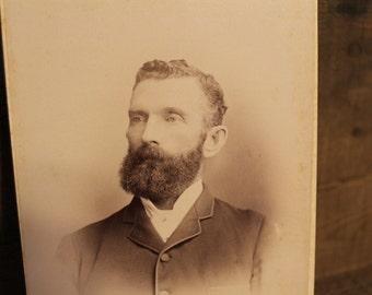Vintage Cabinet Photo, Distinguished Man with beard, Victorian Photo, Montreal, Canada, Canadiana, Antique Cabinet Card, Ephemera