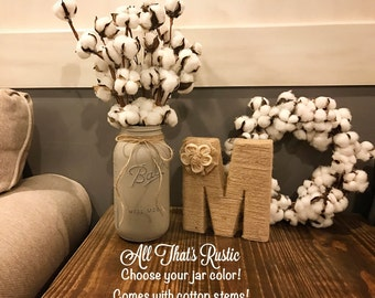Cotton Stems, Rustic Home Decor, Cotton Boll Arrangement, Cotton Boll Stems, Mason Jar Decor, Half Gallon Mason Jar, Farmhouse Decor