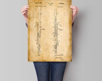 Bassoon Print| Patent Prints| Fagot| Musician Gifts| Music Room Wall Art| Music Room Decor| Wall Art| Wall Art Prints| Home Decor| HPH487