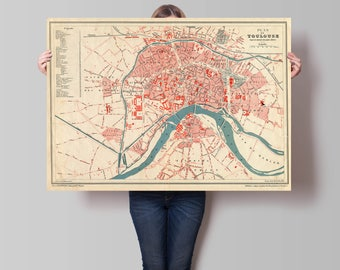 Old Map of Toulouse| 1886 City Plan of Toulouse| Antique France Map| Anciennes Cartes de Toulouse| Vintage Europe Map| French Map| AMC093