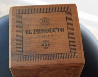 Wood Cigar Box El Producto Circa 1950s Dovetail Joints Original Inside Lid Label Wooden Cigar Box Excellent Vintage Condition