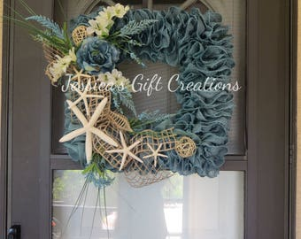 Made to Order Beach Burlap Wreath/Front Door Wreath/Everyday/Starfish/Nautical/Summer/Monogram/Welcome/Summer/Birthday/Housewarming Gift