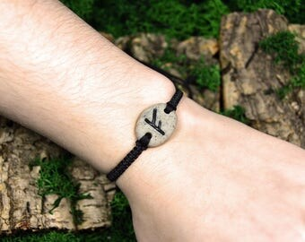 Choose your Rune. Adjustable bracelet with charm. Nylon cord with pendant. For gift, with meaning. Polymer clay, fimo sculpey. Viking, wicca