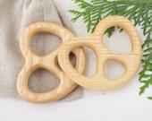 Baby Teether Pretzel shape Pacifier Teething Toys Organic Teether Wooden Teether Baby Teething Ring
