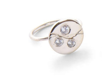 Sterling silver stackable disc ring -hand engraved ring with Swarowski faceted stones