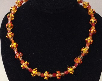 Lampwork Warm Colors Glass Beaded Necklace