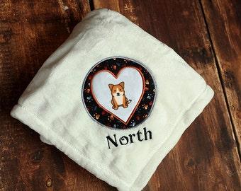 Corgi Dog Blanket Personalized Embroidered