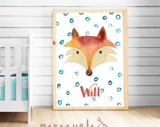 Custom FOX for kids, Baby Boy illustration in watercolor wall art.Gift Ideas for Baby, original painting with name personalized,forest theme